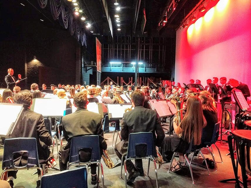 """Dr. Bryan Smith leads the DSU Symphony Band and Snow Canyon High Advanced Band at Snow Canyon High School in this undated photograph from November, 2018. """"Last term we did a concert with the Snow Canyon High School band and their director, Terry Moore,"""" Smith said. """"We played 'Sleigh Ride' with both bands combined, and there was this beautiful energy among all students of all ages. They just enjoyed being together, and I loved leading them."""""""