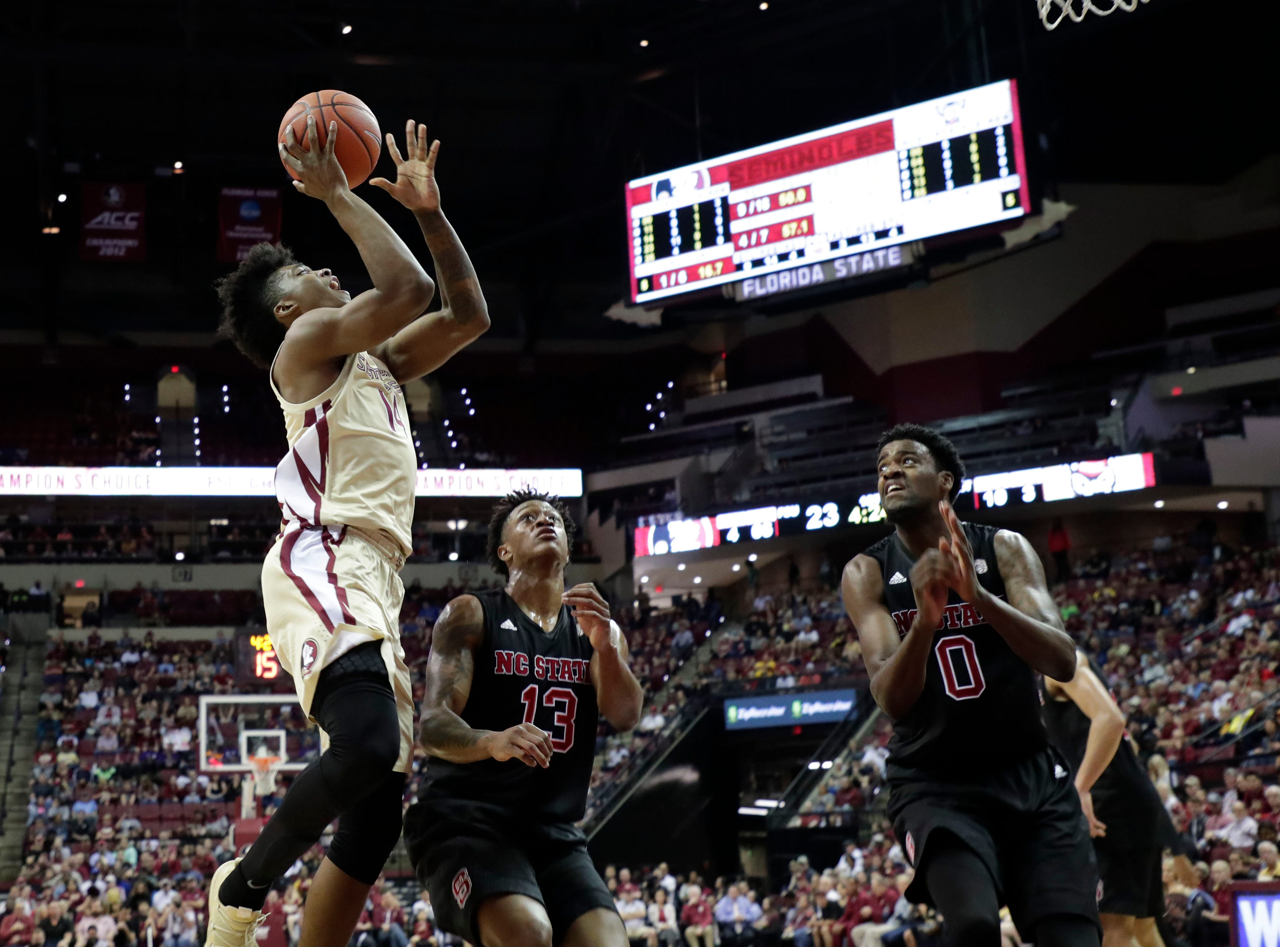 Florida State Seminoles guard Terance Mann (14) shoots from inside the paint. The Florida State Seminoles host the NC State Wolfpack at the Tucker Civic Center Saturday, March 2, 2019.