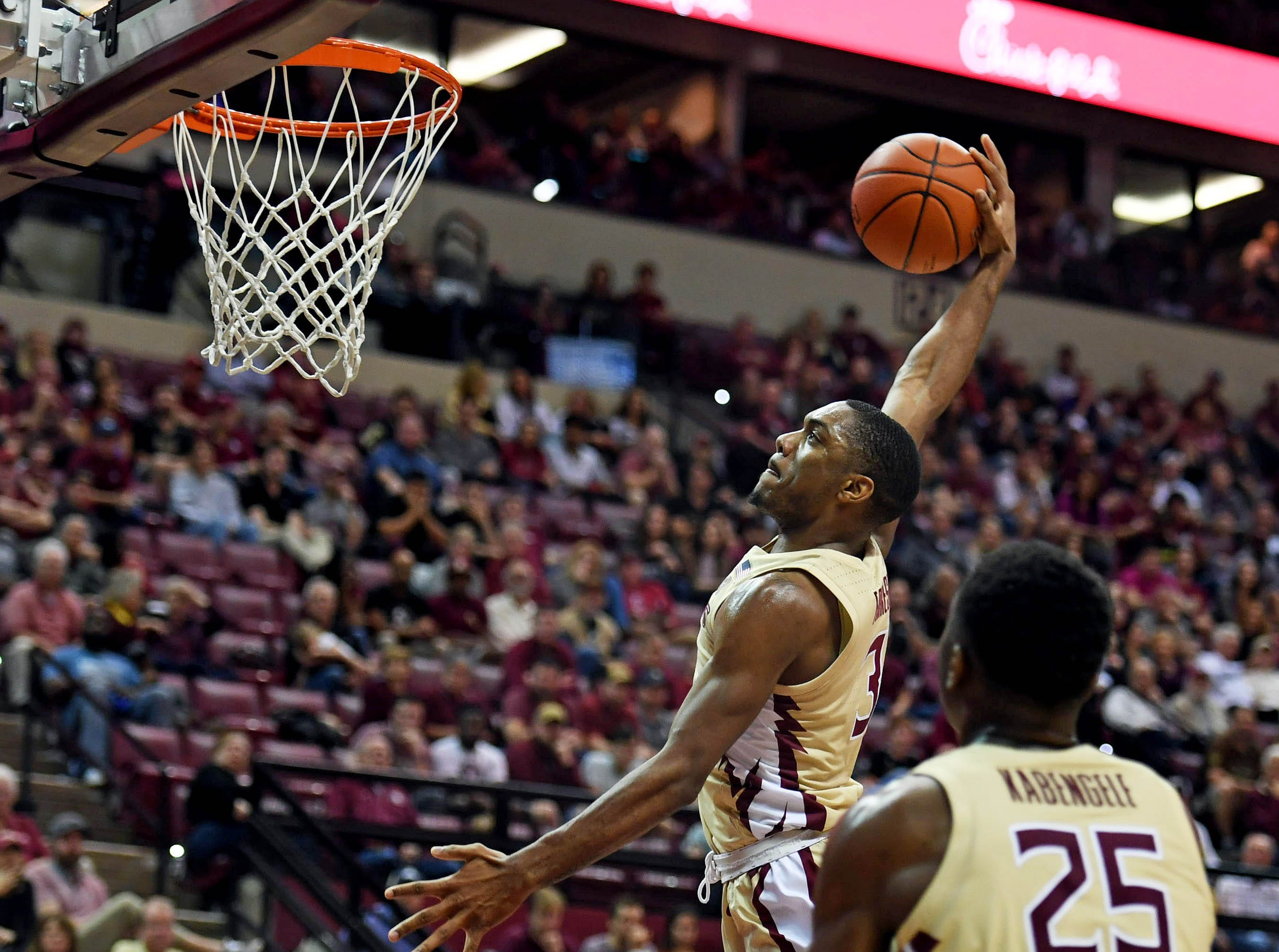Mar 2, 2019; Tallahassee, FL, USA; Florida State Seminoles guard Trent Forrest (3) dunks the ball during the second half of the game against the North Carolina State Wolfpack at Donald L. Tucker Center. Mandatory Credit: Melina Myers-USA TODAY Sports