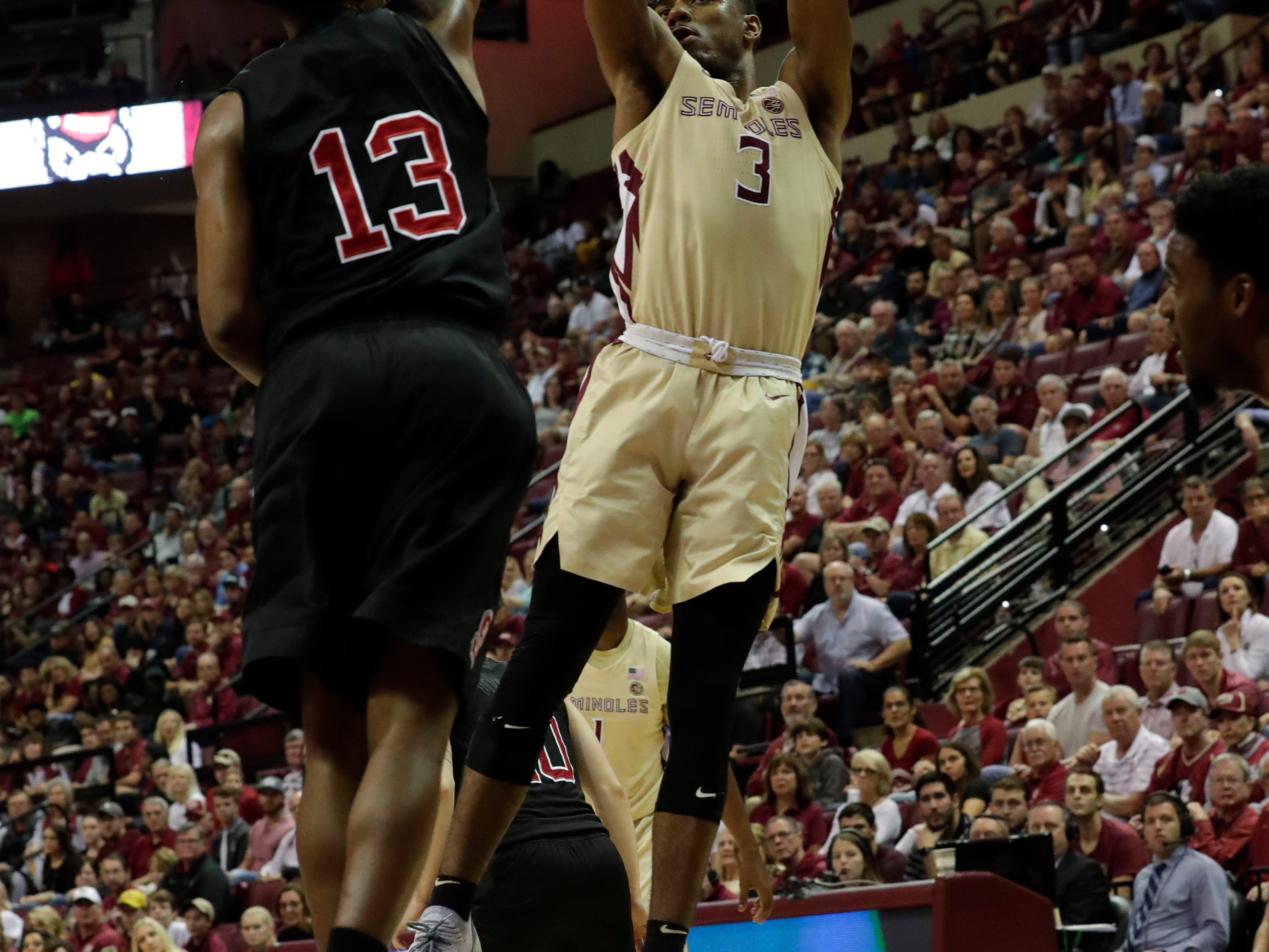 Florida State Seminoles guard Trent Forrest (3) shoots from inside the paint. The Florida State Seminoles host the NC State Wolfpack at the Tucker Civic Center Saturday, March 2, 2019.