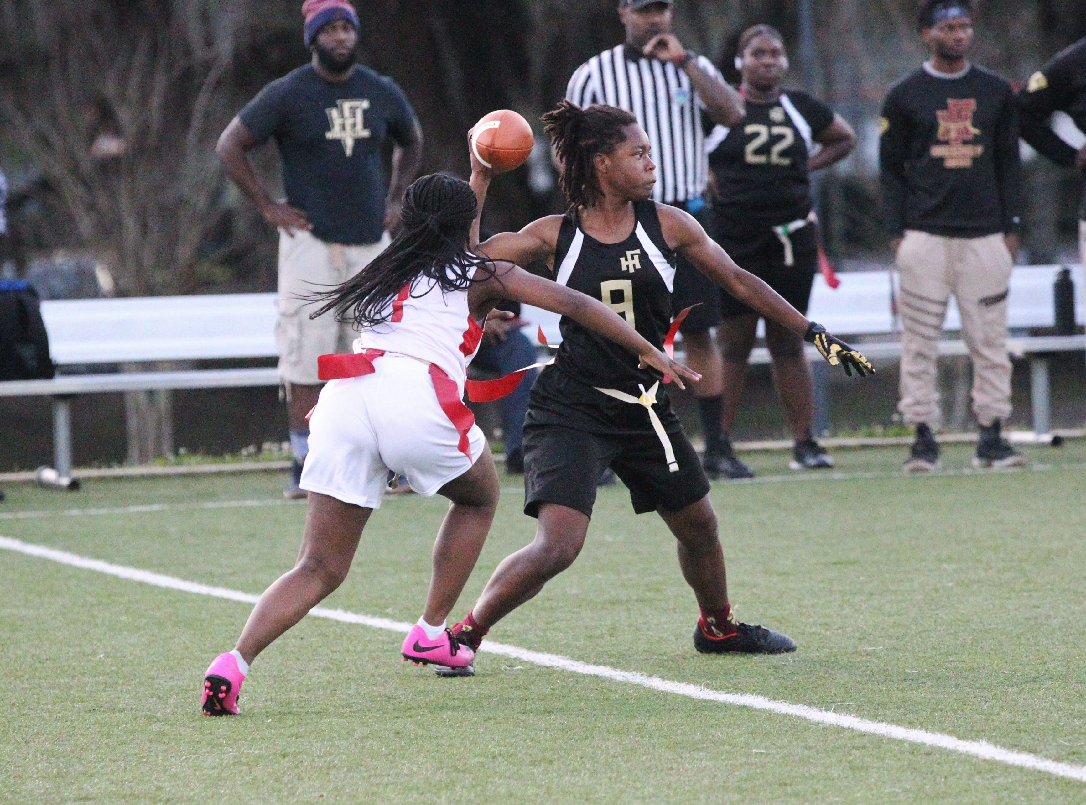 Florida High quarterback Janae Scott throws a pass as the Seminoles and Leon play during the 2019 flag football preseason classic at Florida A&M's intramural turf fields on Feb. 27, 2019.