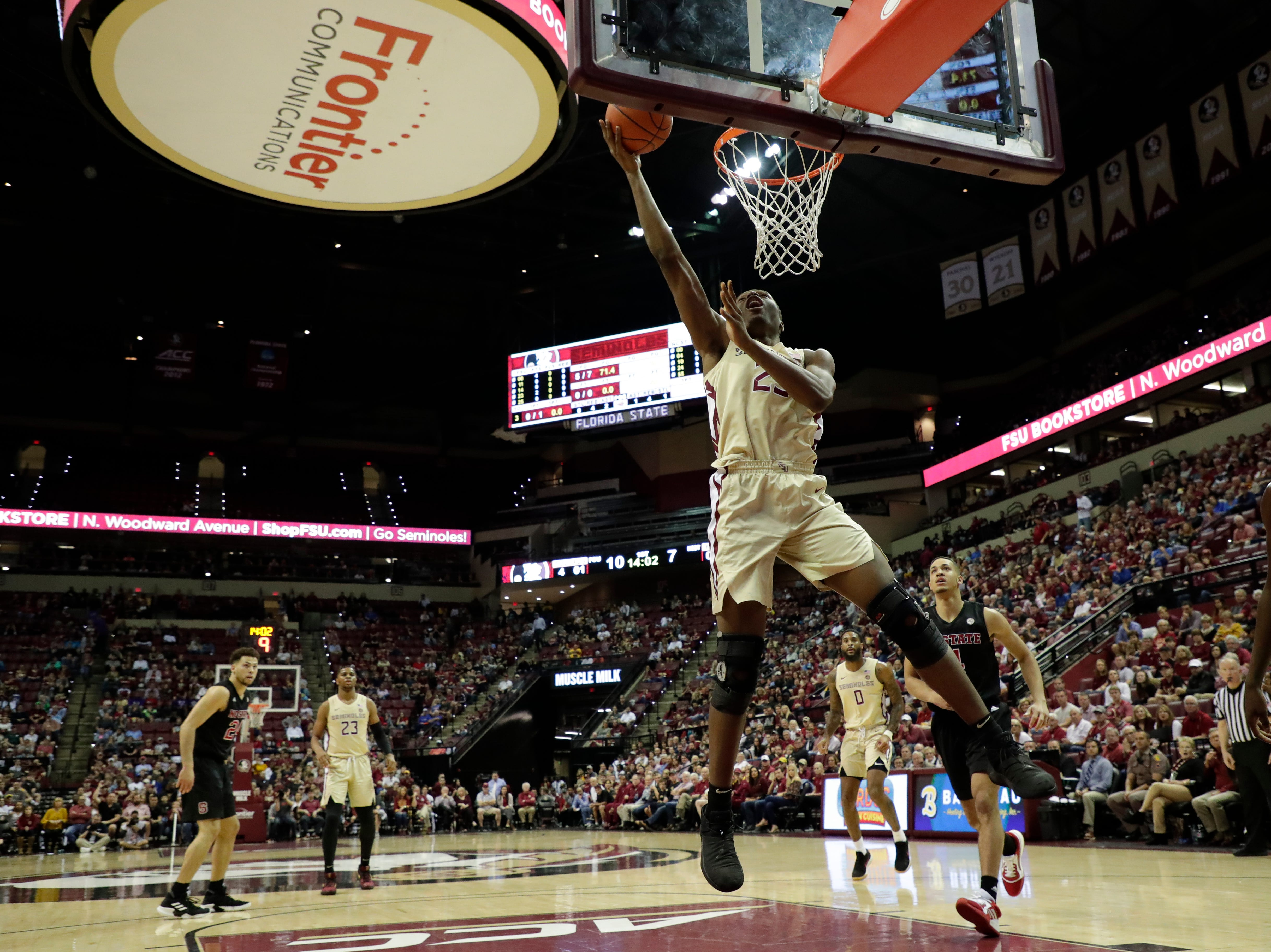 Florida State Seminoles forward Mfiondu Kabengele (25) shoots for two. The Florida State Seminoles host the NC State Wolfpack at the Tucker Civic Center Saturday, March 2, 2019.