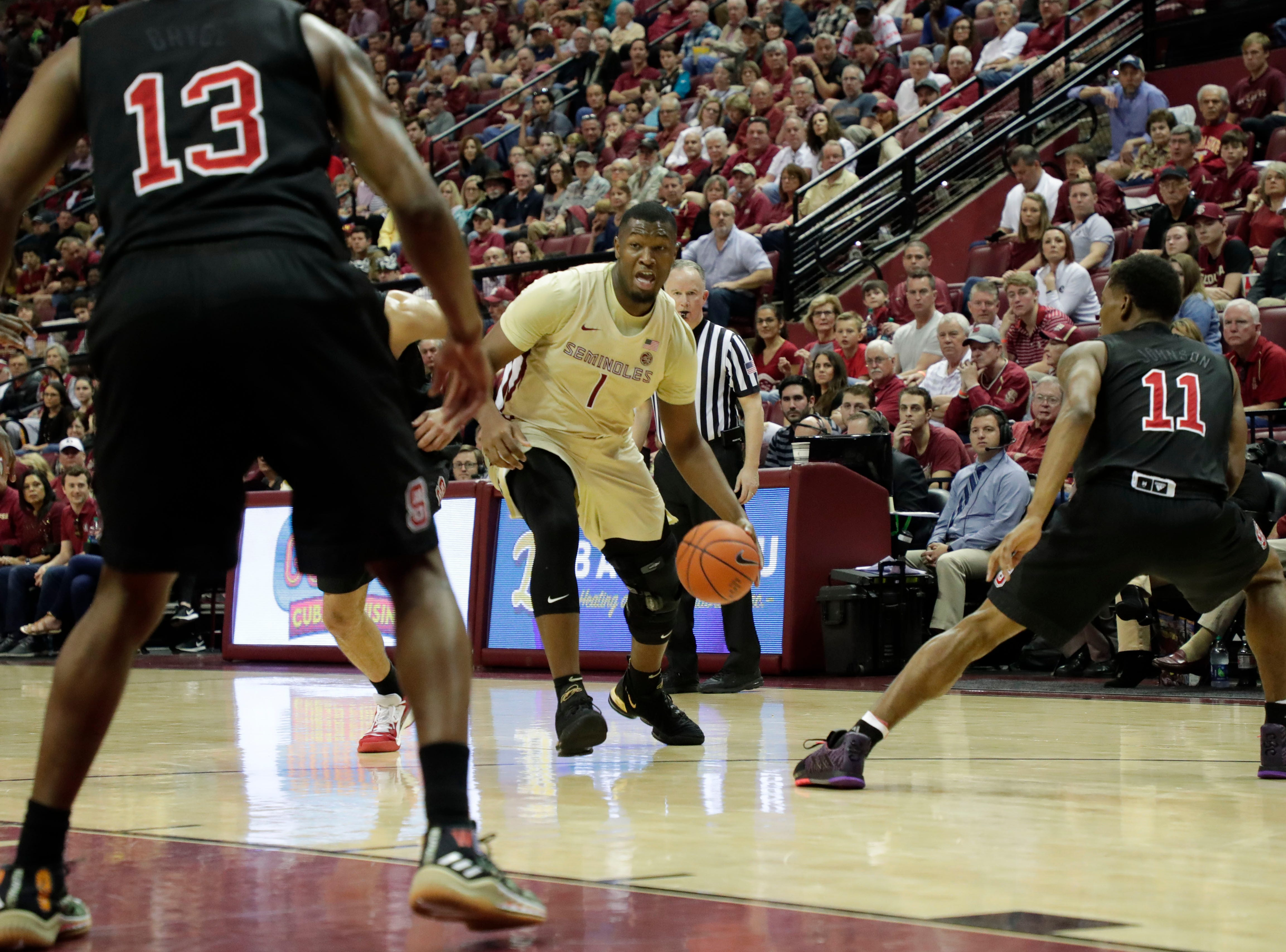 Florida State Seminoles forward Raiquan Gray (1) drives the ball to the hoop. The Florida State Seminoles host the NC State Wolfpack at the Tucker Civic Center Saturday, March 2, 2019.