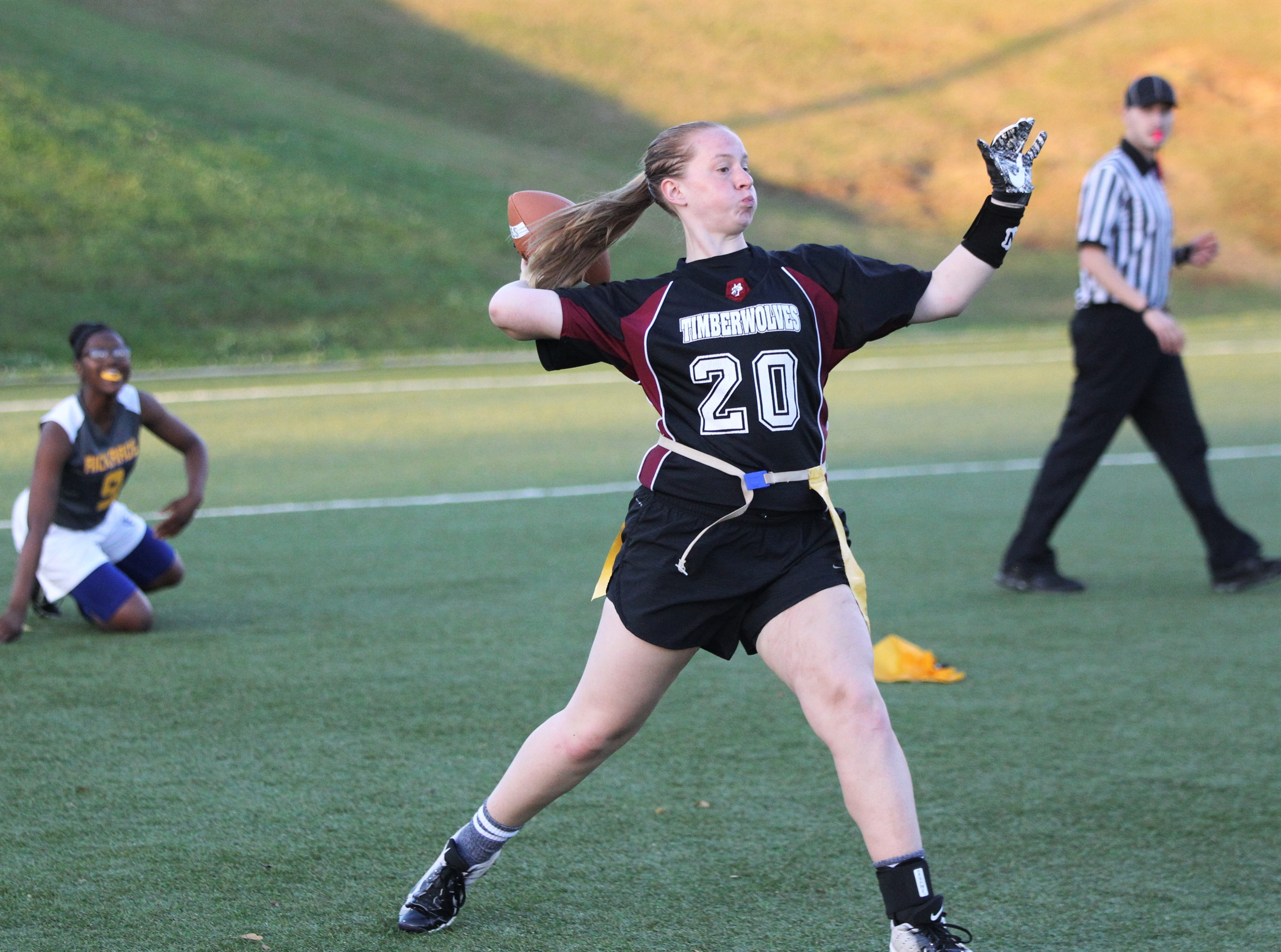 Chiles quarterback Samantha Wilson throws a pass as the Timberwolves and Rickards play during the 2019 flag football preseason classic at Florida A&M's intramural turf fields on Feb. 27, 2019.
