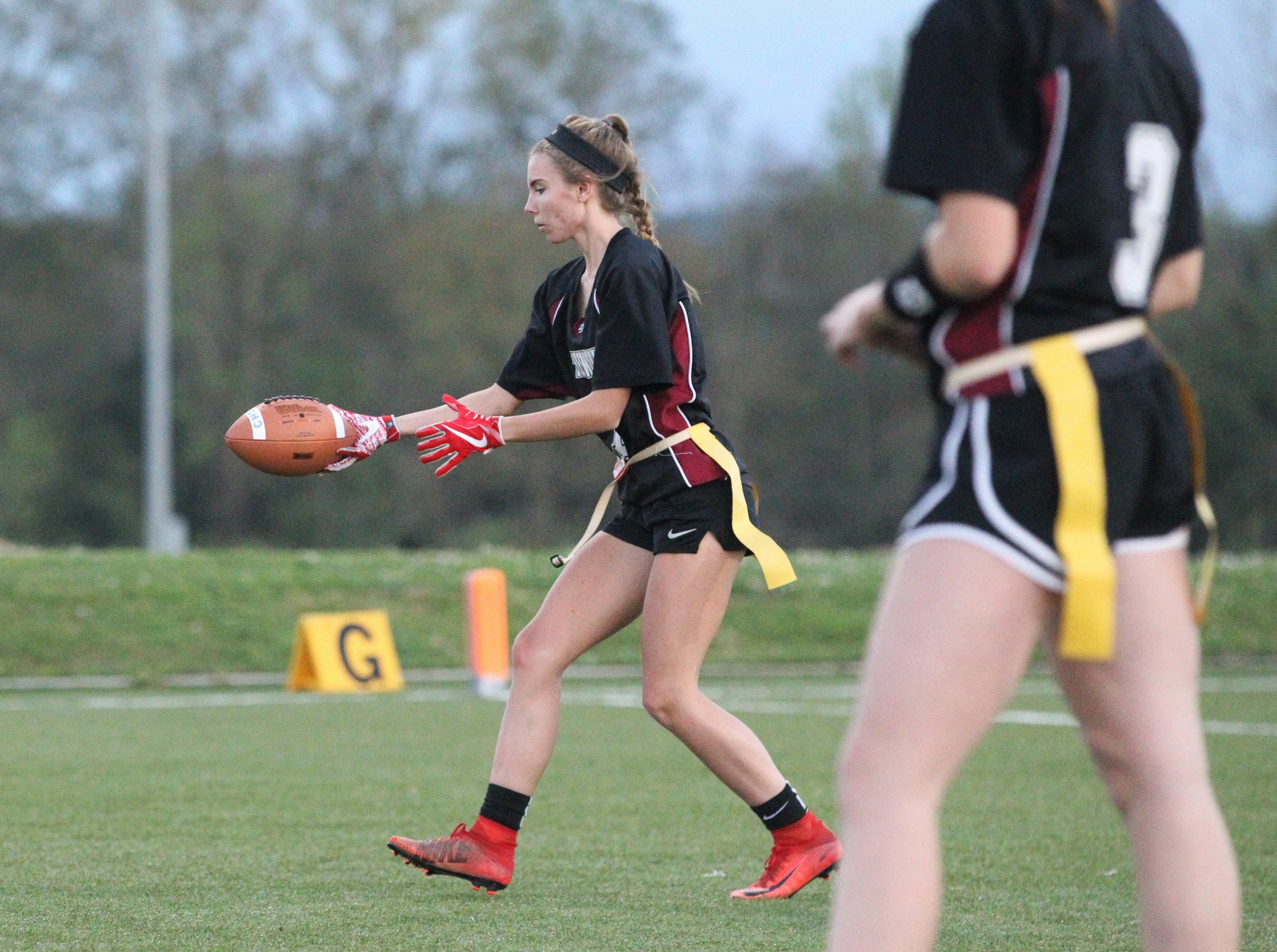 Chiles and Rickards play during the 2019 flag football preseason classic at Florida A&M's intramural turf fields on Feb. 27, 2019.