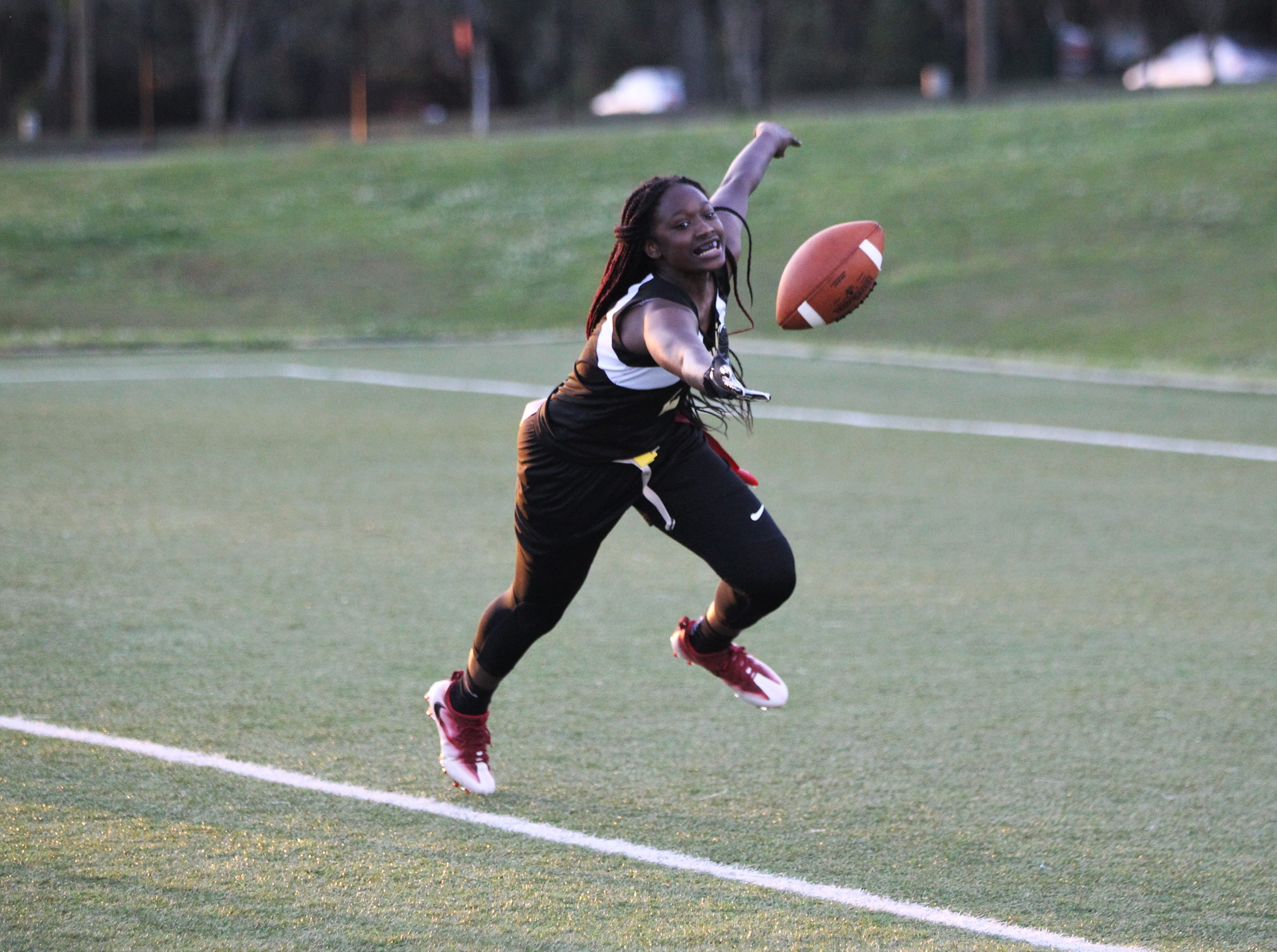 Florida High and Leon play during the 2019 flag football preseason classic at Florida A&M's intramural turf fields on Feb. 27, 2019.