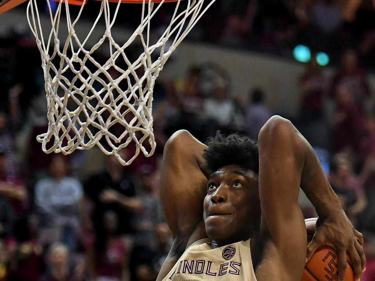 Mar 2, 2019; Tallahassee, FL, USA; Florida State Seminoles guard Terance Mann (14) dunks the ball as a celebration to winning the game against the North Carolina State Wolfpack at Donald L. Tucker Center. Mandatory Credit: Melina Myers-USA TODAY Sports
