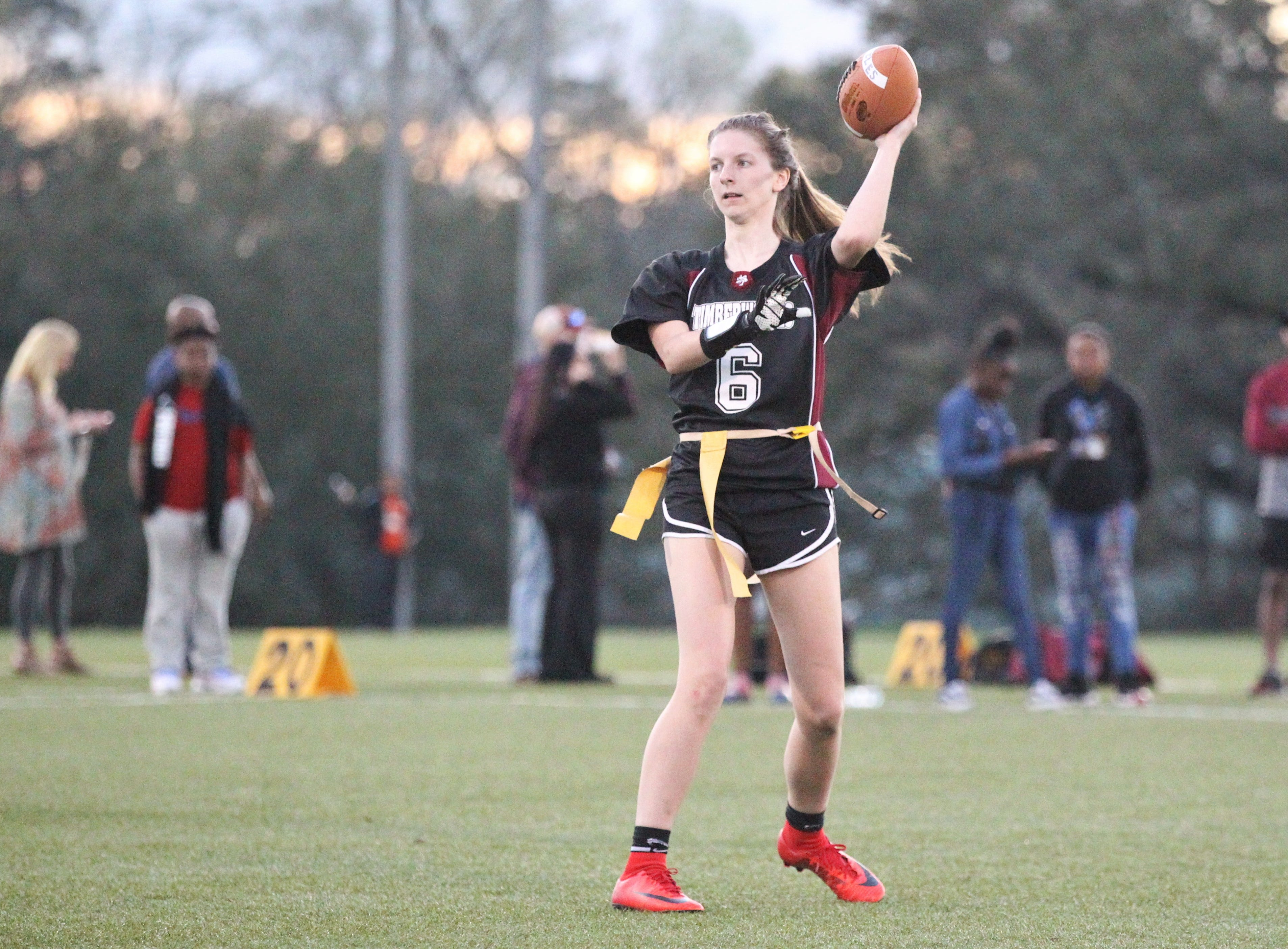Chiles quarterback Rachel Myrick throws a pass as the Timberwolves and Rickards play during the 2019 flag football preseason classic at Florida A&M's intramural turf fields on Feb. 27, 2019.