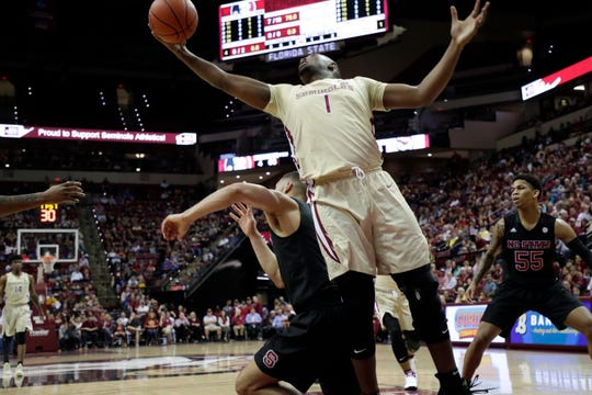 Florida State Seminoles forward Raiquan Gray (1) fights for the rebound. The Florida State Seminoles host the NC State Wolfpack at the Tucker Civic Center Saturday, March 2, 2019.
