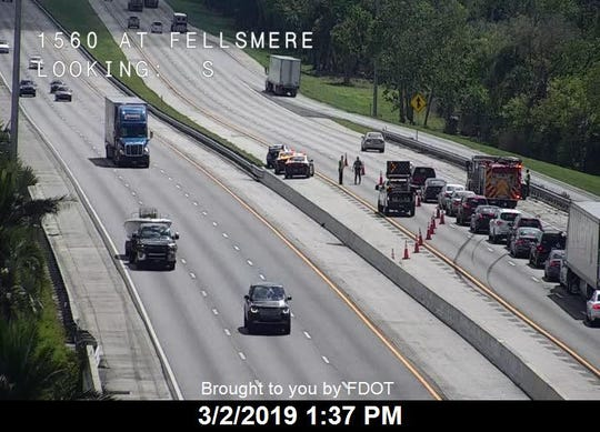 Traffic was reduced to one lane for a crash on southbound Interstate 95 near Fellsmere.