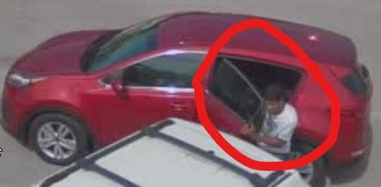 A surveillance camera in Port St. Lucie caught an image of a man suspected in a car burglary on Lyngate Drive Friday.