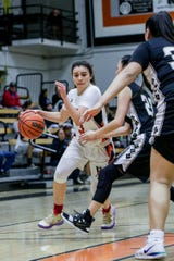 Ventura College freshman Cece Quintino drives to the basket on Friday night against Rio Hondo in the CCCAA SoCal regional semifinals at the VC Athletic Event Center. VC won, 60-49.