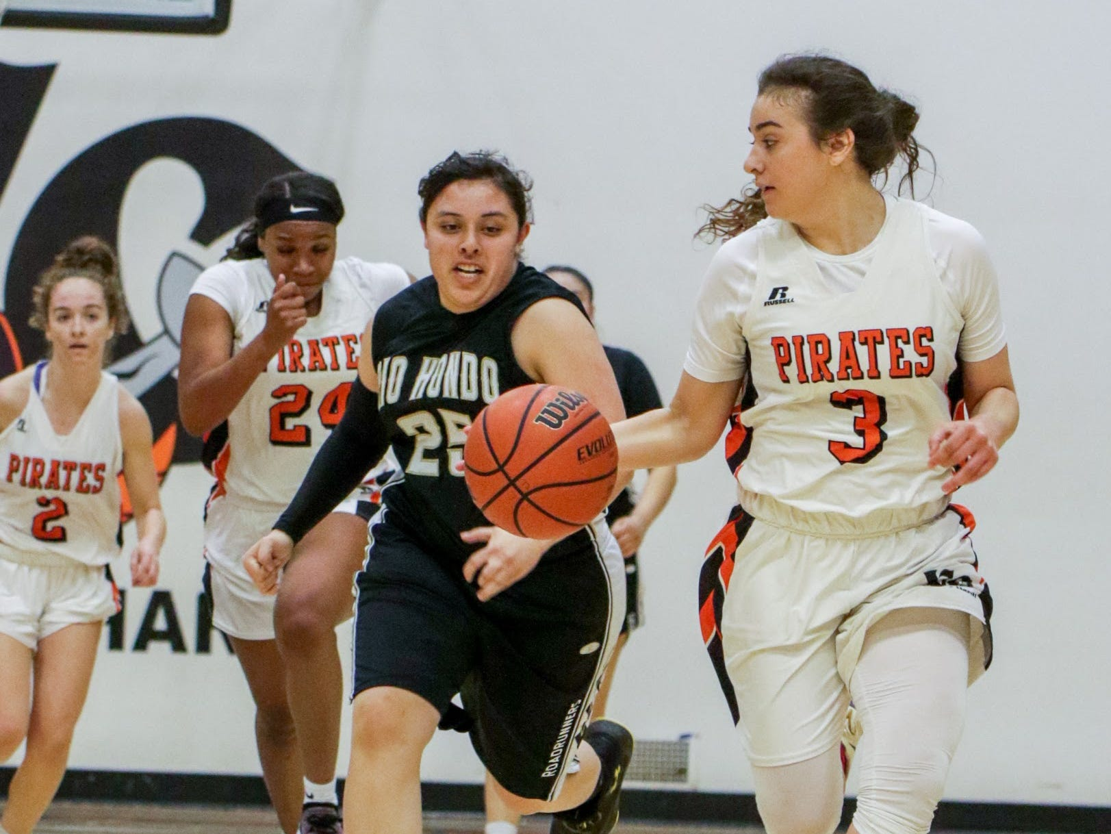 Ventura College freshman Cece Quintino looks for an open teammate on Friday night against Rio Hondo in the CCCAA SoCal regional semifinals at the VC Athletic Event Center. Ventura won, 60-49.