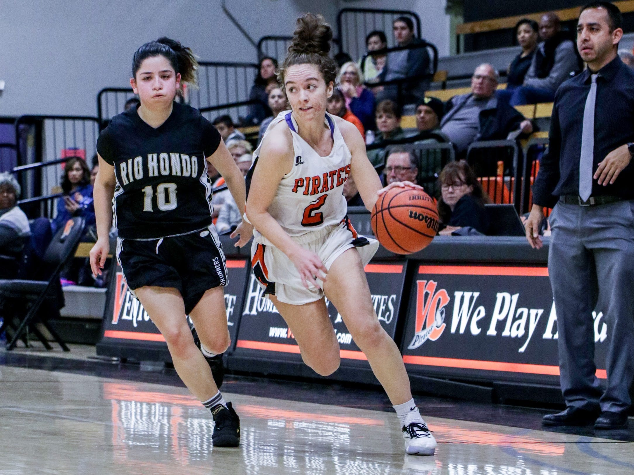 Ventura College freshman Talia Taufaasau races up the floor on Friday night against Rio Hondo in the CCCAA SoCal regional semifinals at the VC Athletic Event Center. Ventura won, 60-49.