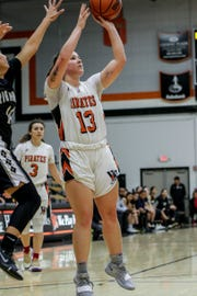 Ventura College freshman Emma Larson shoots a jumper last Friday night against Rio Hondo in the CCCAA SoCal regional semifinals at the VC Athletic Event Center. VC won, 60-49.
