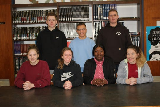 Millville Senior High School's Students of the Month for January are: (seated, from left) Alexandra Kukal, Kelsey Andres, Awa Ndiaye and Taylor Chard, and (standing, from left) Connor Nurnberg, Ralph Martin and Kyle Plummer.