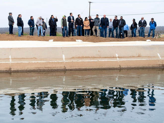 Senator Melissa Hurtado (D-Sanger) and other state and local officials pause along a key section of the Friant-Kern Canal on Friday, March 1, 2019. At one time the water level was as high as people's heads in this picture. Hurtado introduced Senate Bill (SB) 559 on Feb. 20 to help secure California's water supply by investing $400 million towards restoring lost conveyance capacity on the Friant-Kern Canal, one of the San Joaquin Valley's most critical water delivery facilities. The bill will restore the canal's ability to convey water for groundwater storage, provide access to clean water for some of the state's most vulnerable communities, and deliver irrigation for more than 1.2 million acres of family farms in California.