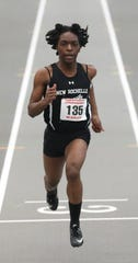 Rammona Genus from New Rochelle competes in the 55 meter dash during the New York State Track & Field Championships at the Ocean Breeze athletic complex on Staten Island, March 2, 2019.