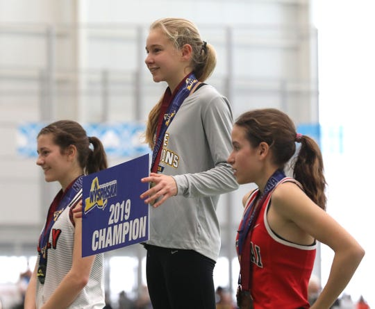 Katelyn Tuohy from North Rockland won the 3000 meter run during the New York State Track & Field Championships at the Ocean Breeze athletic complex on Staten Island, March 2, 2019.