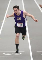 Joshua Harmsen from Clarkstown North competes in the 55 meter dash during the New York State Track & Field Championships at the Ocean Breeze athletic complex on Staten Island, March 2, 2019.