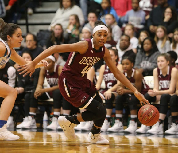 Ossining defeats Ursuline 78-67 in the girls basketball Class AA section final at Pace University in Pleasantville on Saturday, March 2, 2019.