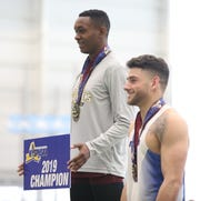 Lavonno Mitchell from Albertus Magnus won the 55 meter hurdles during the New York State Track & Field Championships at the Ocean Breeze athletic complex on Staten Island, March 2, 2019.