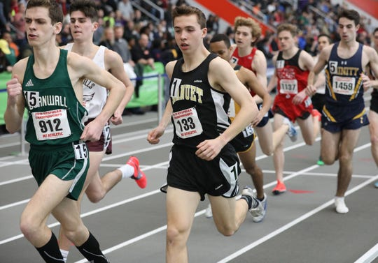 Ryan Guerci from Nanuet runs the 3000 meter run during the New York State Track & Field Championships at the Ocean Breeze athletic complex on Staten Island, March 2, 2019.