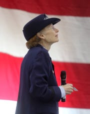 Maj. Gen. Carol Timmons composes herself before thanking her family members during the Delaware National Guard change of command ceremony held Saturday at the DNG Aviation Support Facility in New Castle.