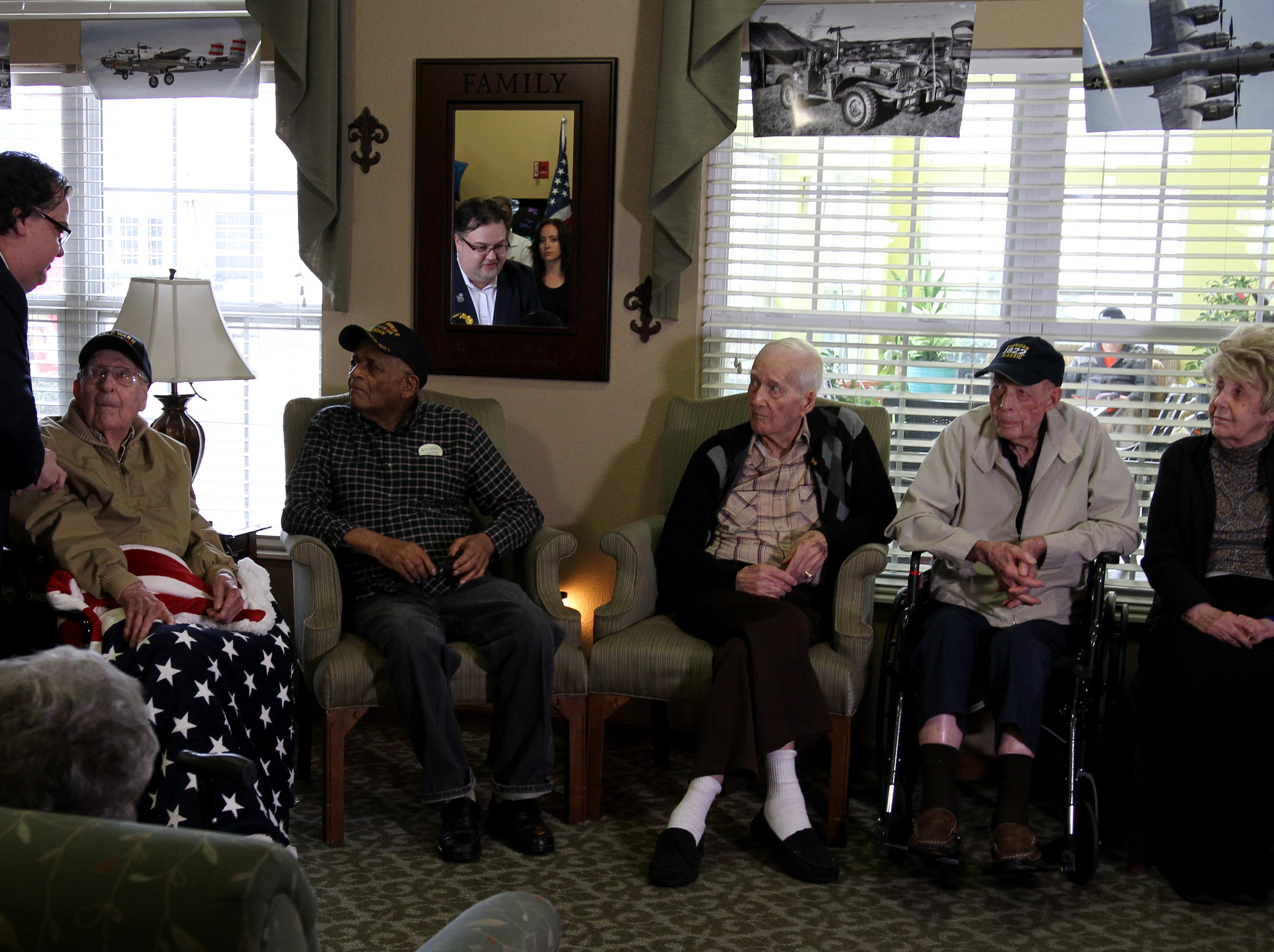 The Airpower foundation gave life chests to WWII veterans Joe Cuba, Vivian Young, Bill Moddy, Harry Cobble and Olivia Woodruff at Cuba's 100th birthday party Saturday, March 2, 2019, at Brookdale Midwestern.