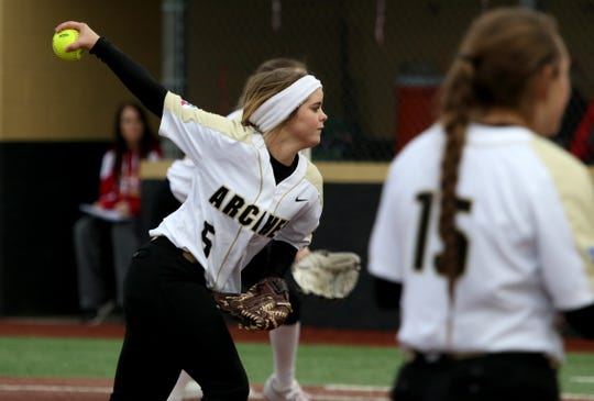 Archer City's Victoria Rater pitches against Holliday Friday, March 1, 2019, in Henrietta.
