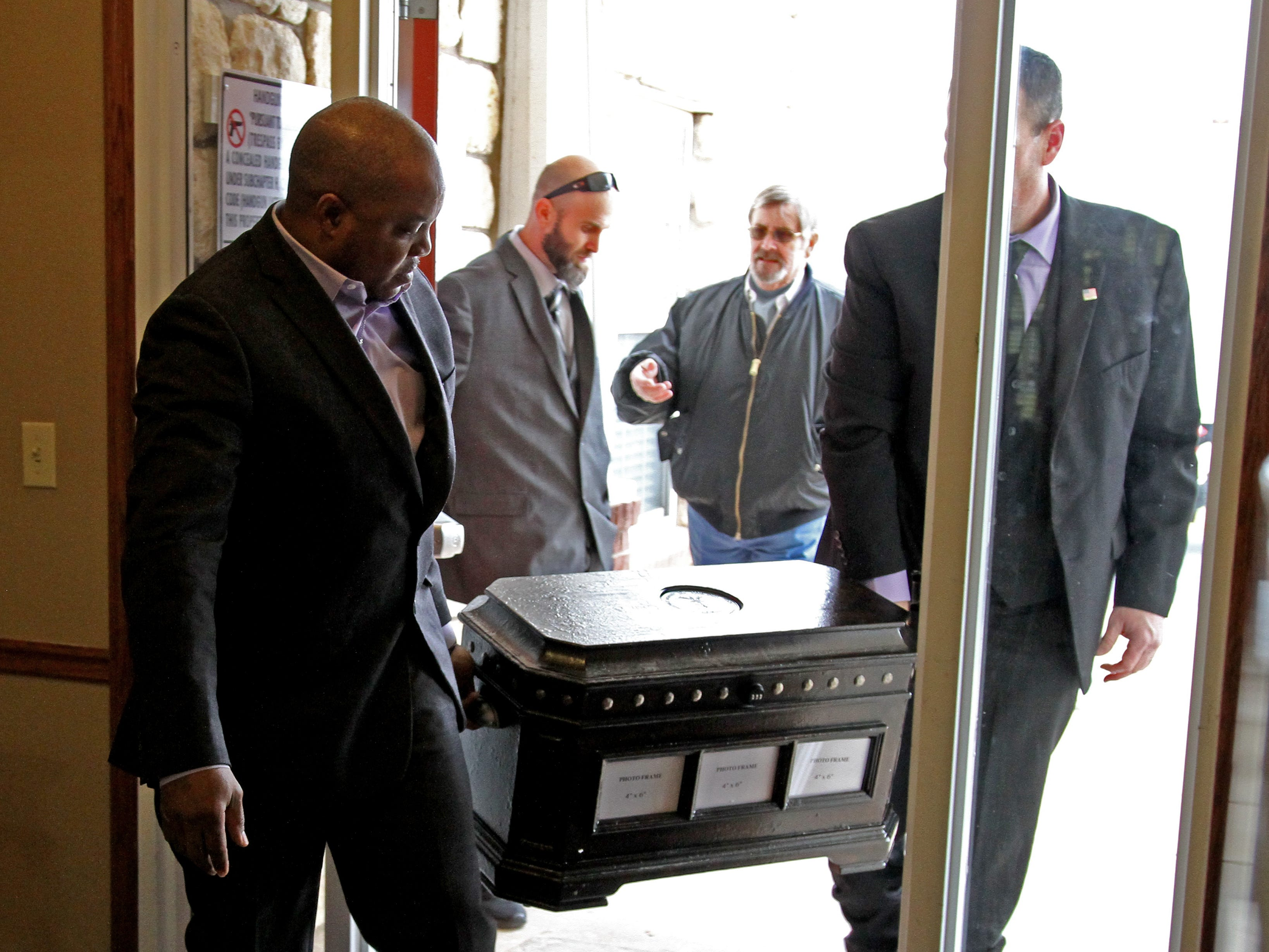 A life chest is brought in for WWII veteran Joe Cuba's 100th birthday Saturday, March 2, 2019, at Brookdale Midwestern.