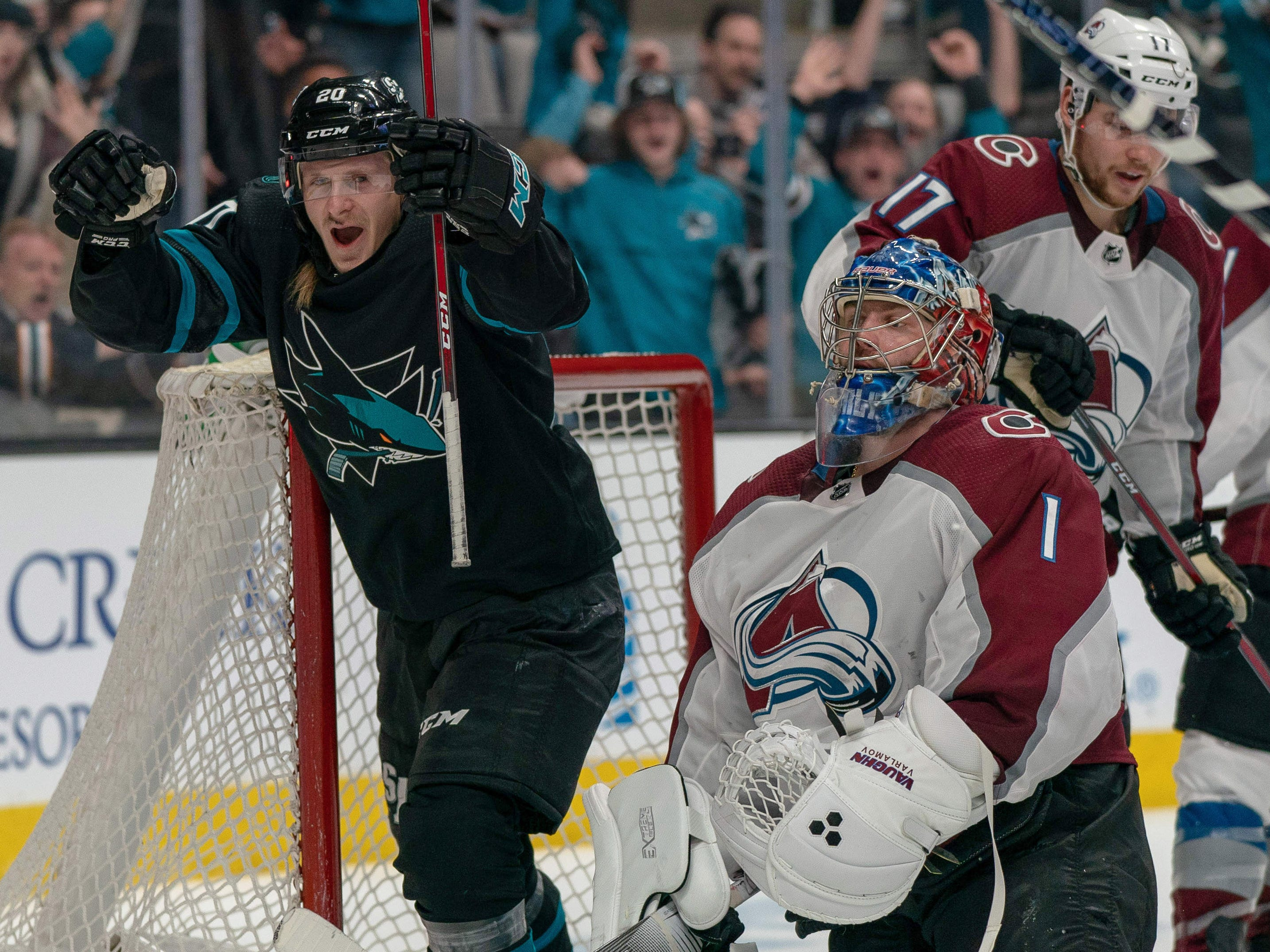 March 1: San Jose Sharks right wing Marcus Sorensen celebrates his second-period goal against Colorado Avalanche goaltender Semyon Varlamov. He scored twice in the game.