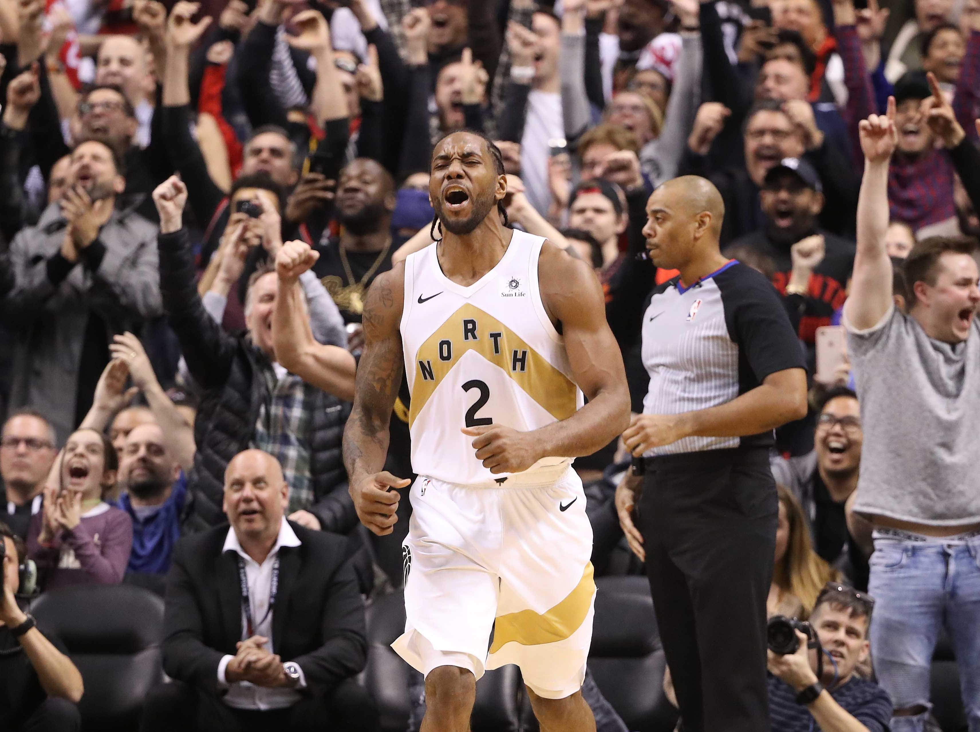 March 1: Raptors forward Kawhi Leonard celebrates after hitting the game-winning bucket in the closing second to beat the Trail Blazers at Scotiabank Arena.