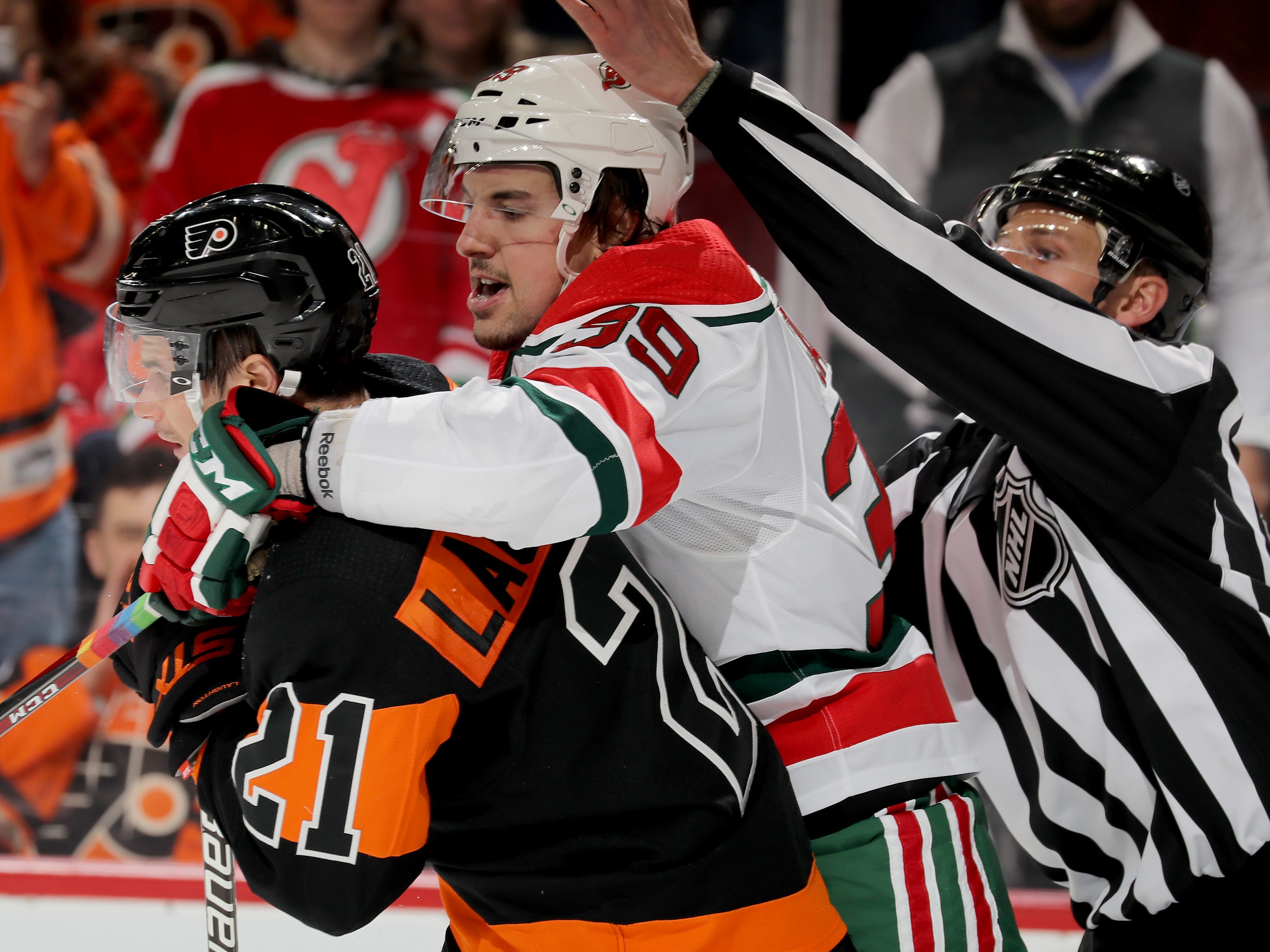 March 2: The New Jersey Devils' Kurtis Gabriel (39) was suspended one game for boarding the Philadelphia Flyers' Nolan Patrick (not pictured). Lost pay: $3,494.62.