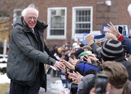 Vermont Senator Bernie Sanders greets supporters as he arrives to announce his candidacy for the 2020 Democratic Presidential nomination at Brooklyn College in New York City, New York on March 2, 2019. Sanders also sought the Democratic nomination in the 2016 election.