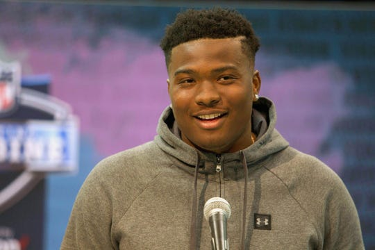 Dwayne Haskins speaks to media during the NFL draft combine.