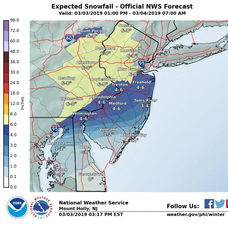 NJ weather: How much snow will your county get today?