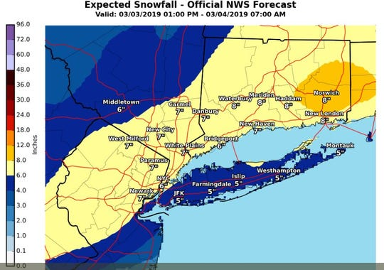 National Weather Service snow fall predictions.