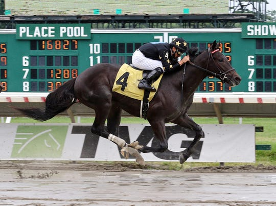 Joevia, with Chris DeCarlo riding, wins at Monmouth Park on July 15, 2018.