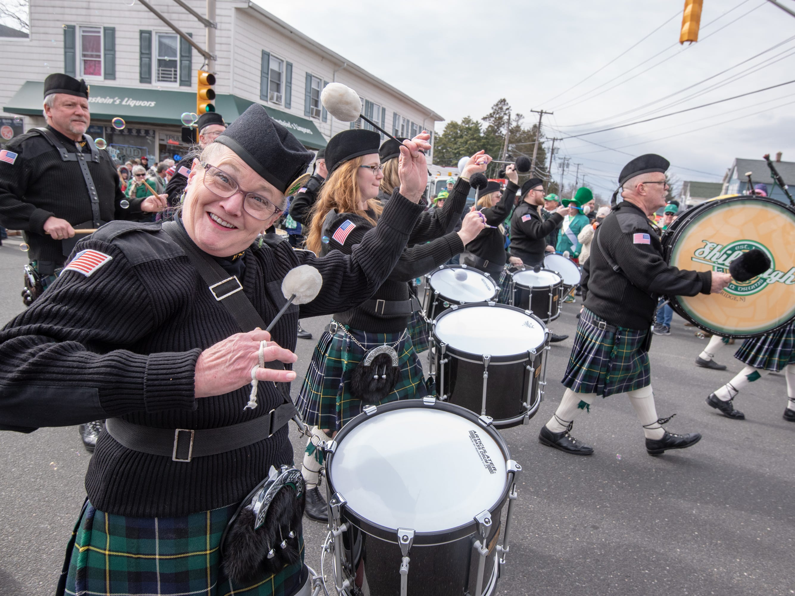 A drummer from the  Pipes and Drums of the  Friendly Sons of the Shillelagh, Old Bridge, smiles for the camera. The 46th annual Belmar/Lake Como St. Patrick's Day Parade was held in Belmar on March 3, 2019.
