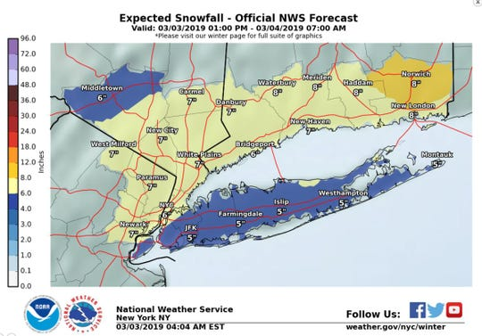 Northern New Jersey is expected to get up to 7 inches of snow Sunday into Monday.