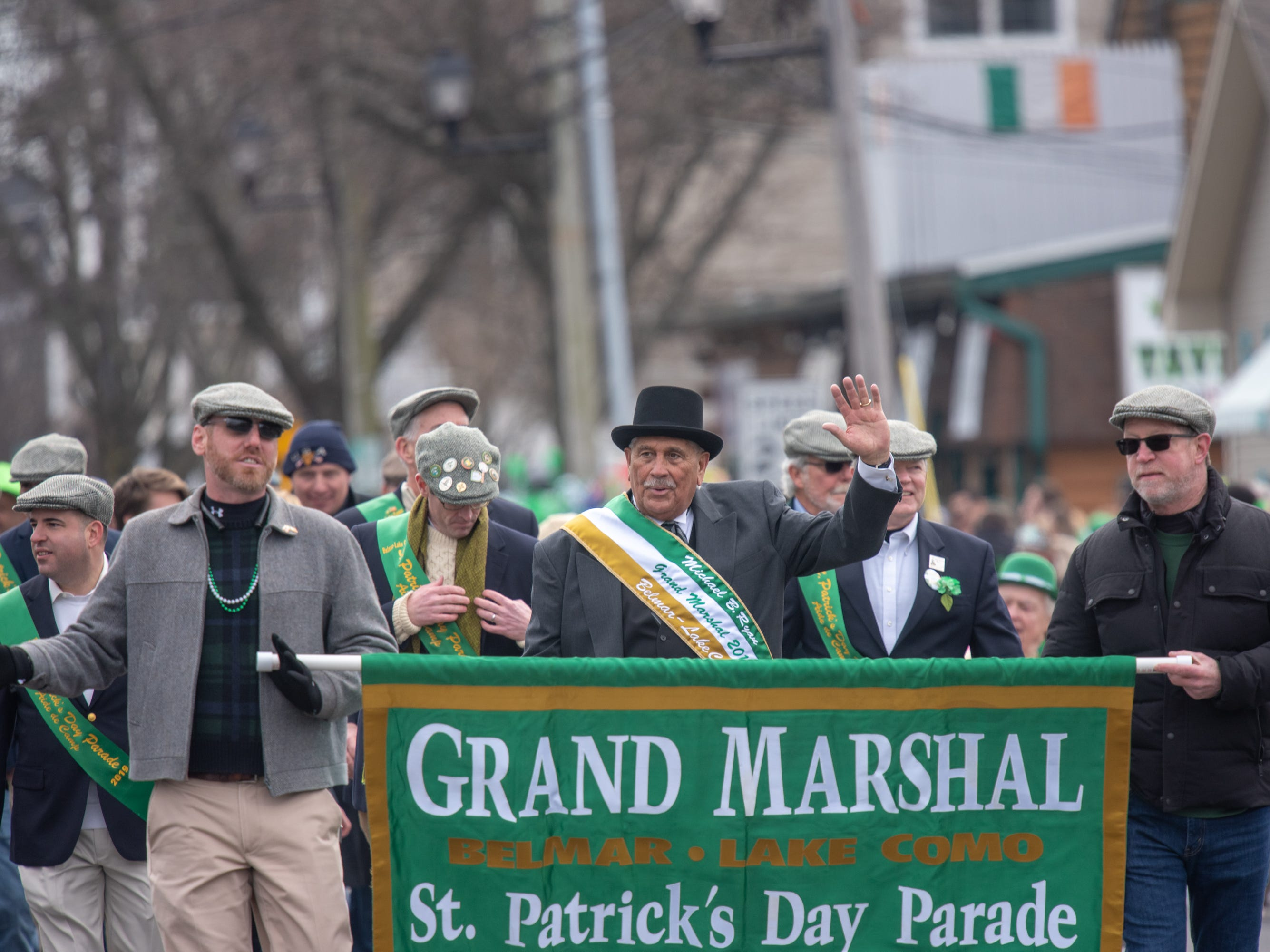 Grand Marshall Michael B. Ryan waves to the crowd. The 46th annual Belmar/Lake Como St. Patrick's Day Parade was held in Belmar on March 3, 2019.