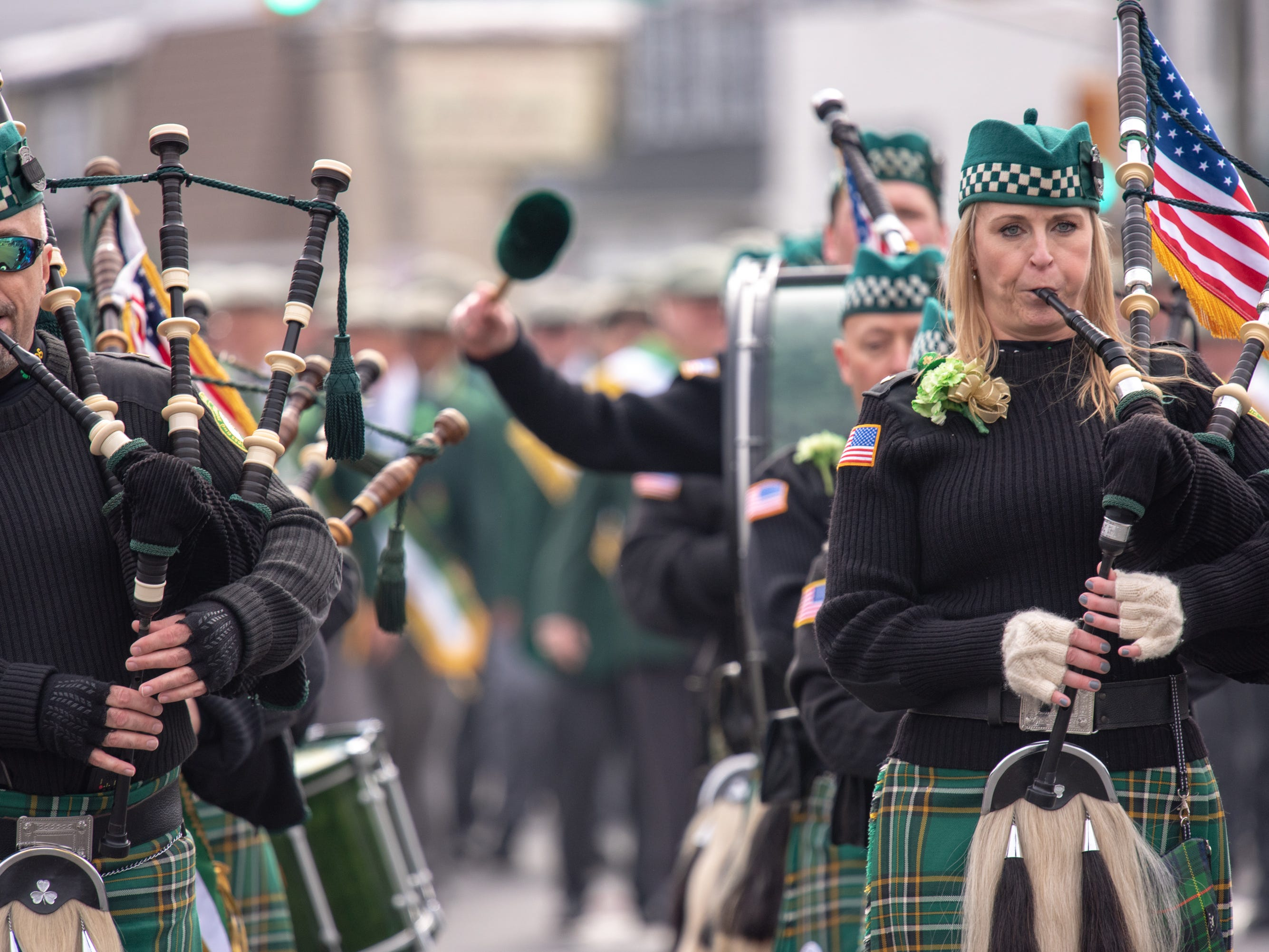 Marching are the Pipes and Drums of the  Friendly Sons of the Shillelagh of the Jersey Shore. The 46th annual Belmar/Lake Como St. Patrick's Day Parade was held in Belmar on March 3, 2019.