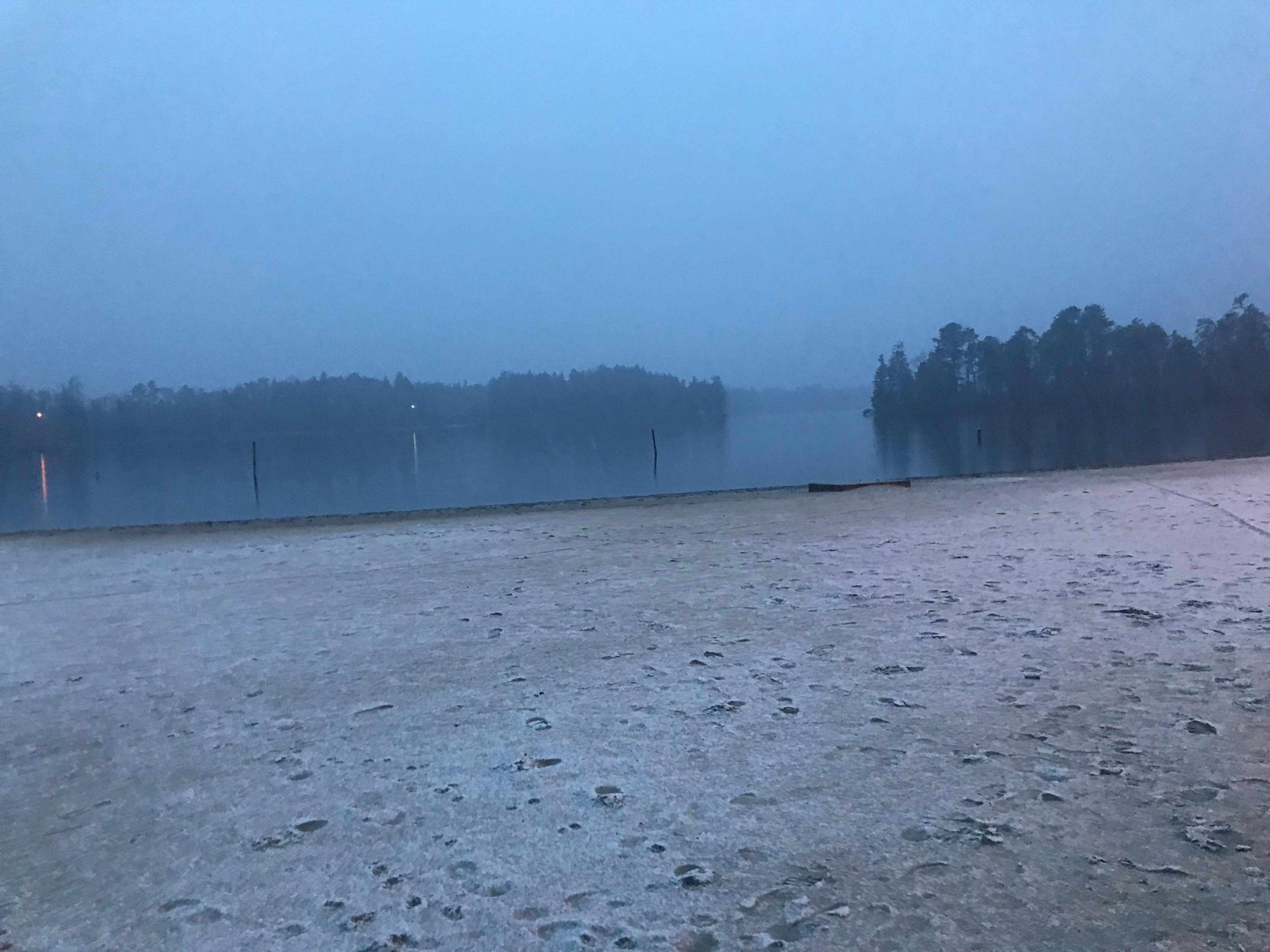 Lake Horicon in Lakehurst as the snow begins.