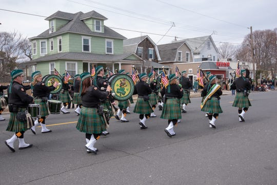 Pictured marching are  the Pipes and Drums of the  Friendly Sons of the Shillelagh, of the Jersey Shore. The 46th annual Belmar/Lake Como St. Patrick's Day Parade was held in Belmar on March 3, 2019.