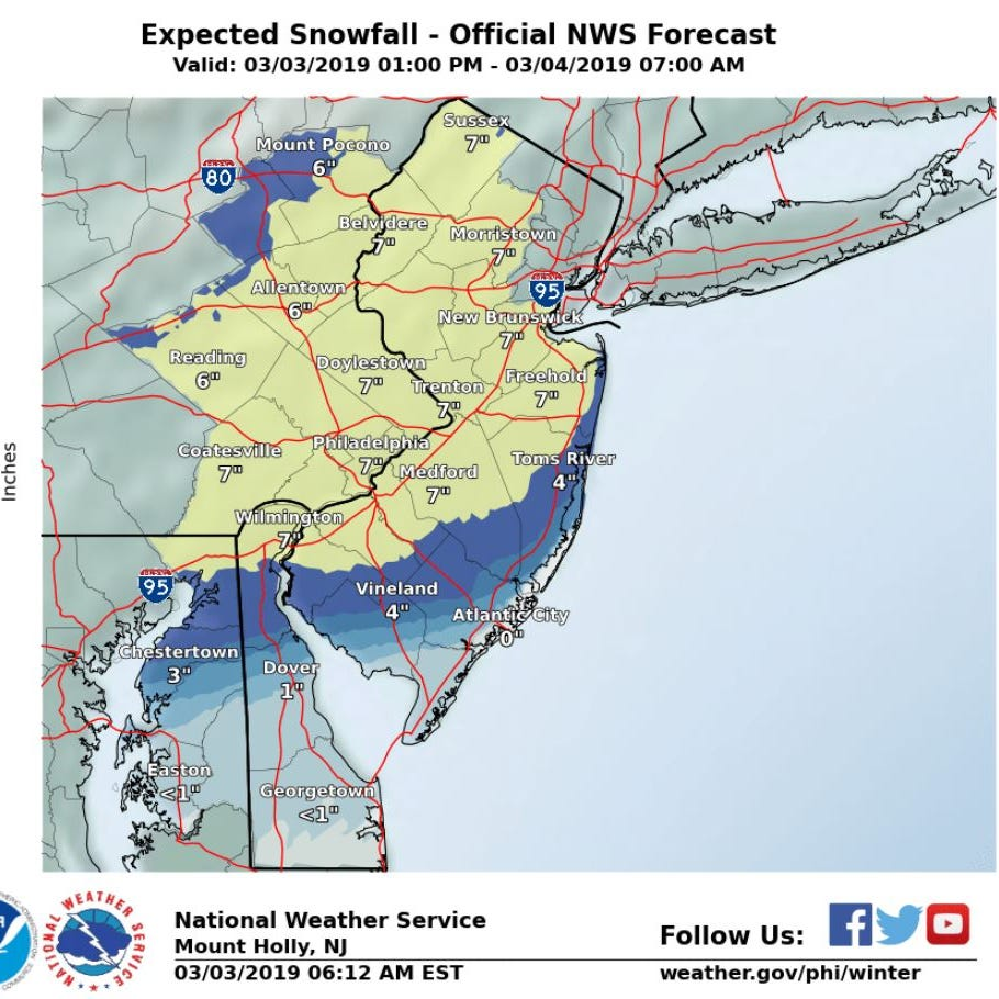 NJ weather: How will Sunday's snowstorm affect you?