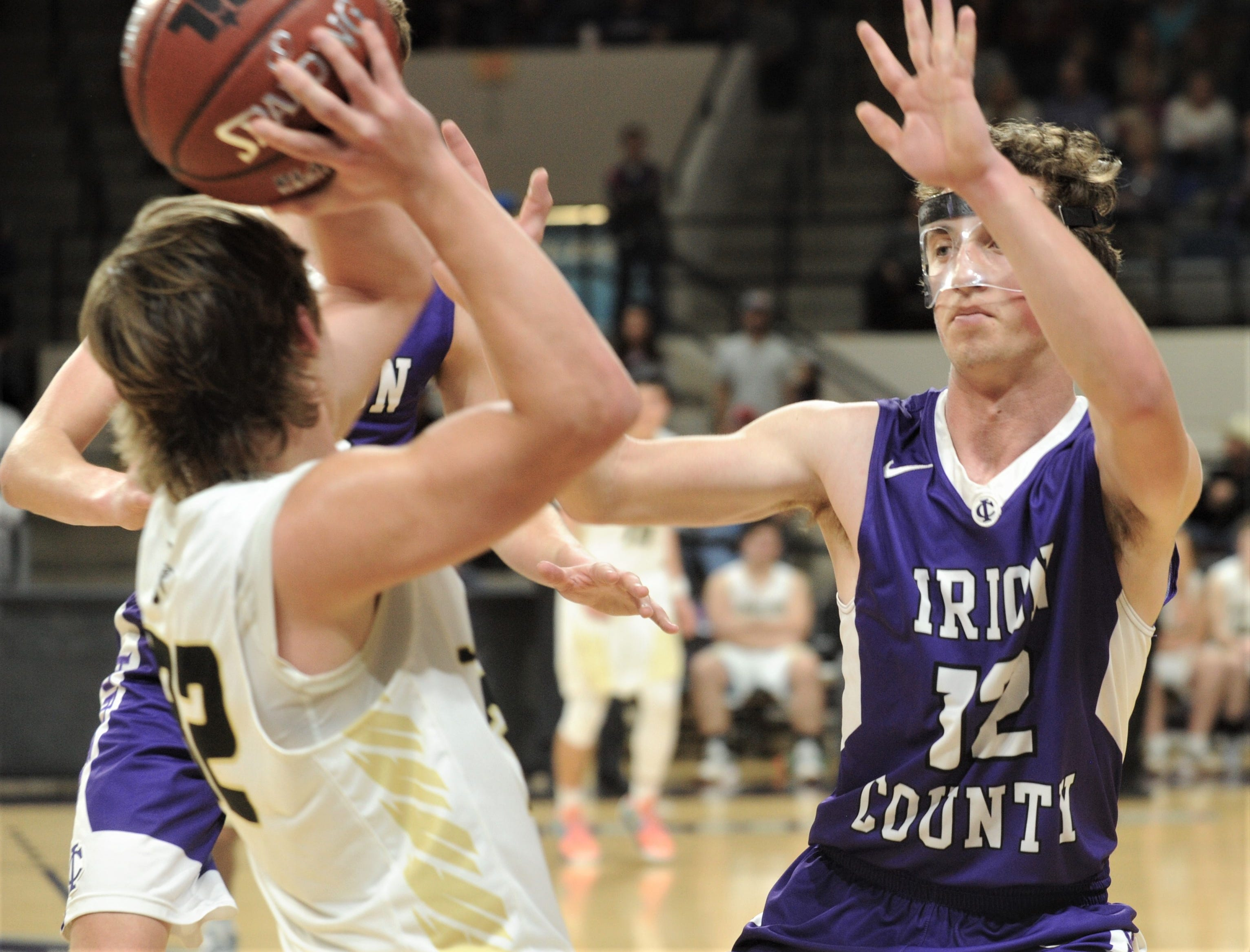 Irion County's Sawyer Paxton, right, and a teammate put pressure on Jayton's Tye Scogin. The Jaybirds beat Irion County 47-32 in the Region II-1A championship game Saturday, March 2, 2019, at Abilene Christian's Moody Coliseum.