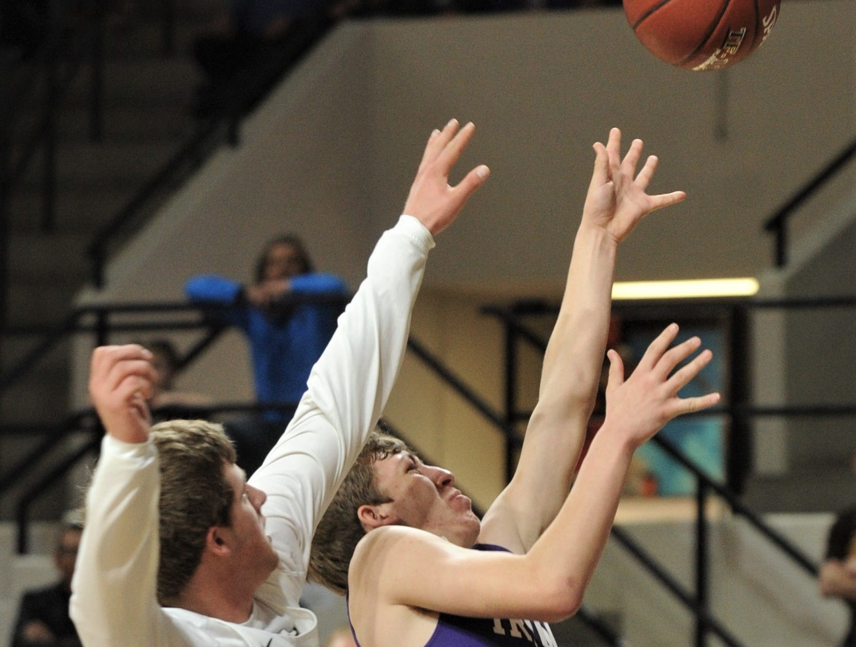 Irion County's Kaden Councilman, right, drives to the basket as a Jayton player defends. The Jaybirds beat Irion County 47-32 in the Region II-1A championship game Saturday, March 2, 2019, at Abilene Christian's Moody Coliseum.