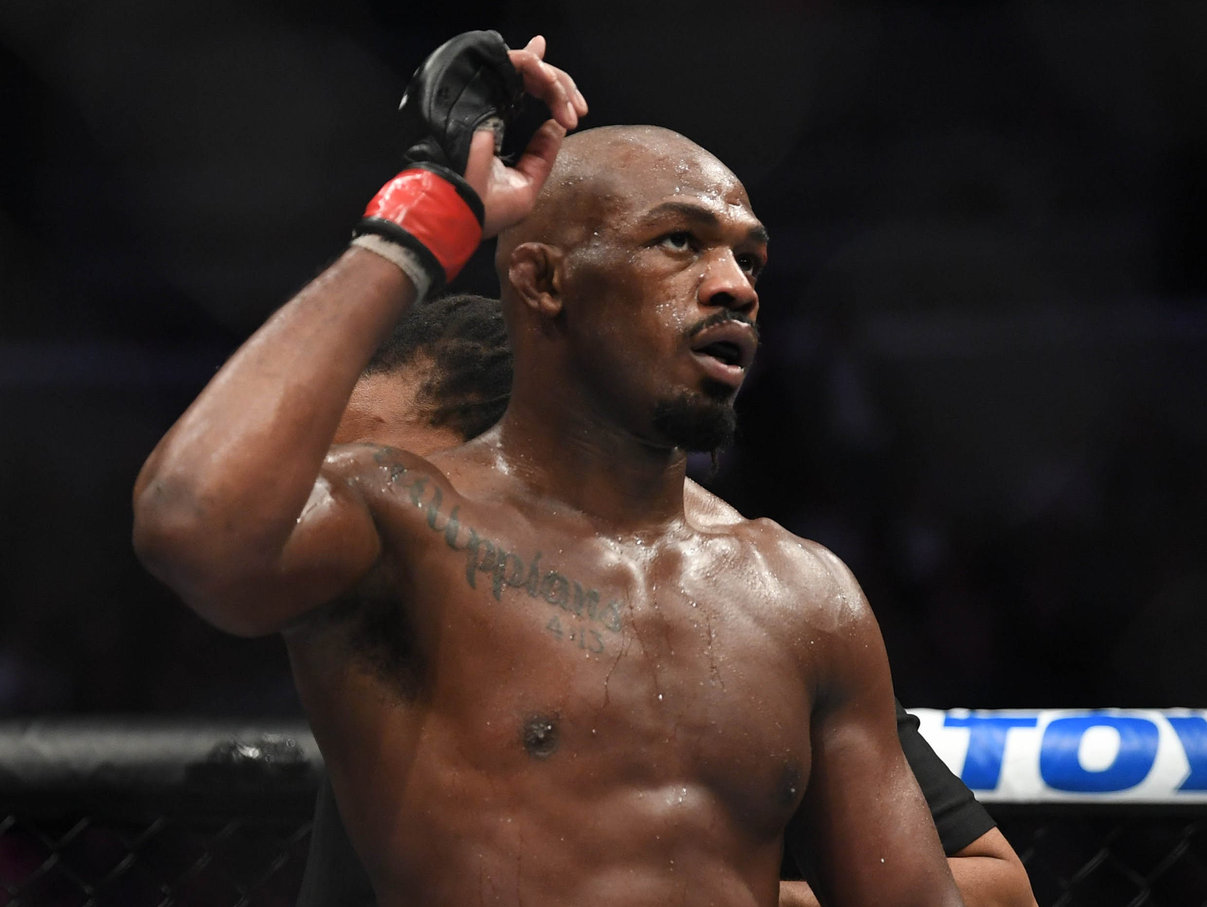 Mar 2, 2019; Las Vegas, NV, USA; Jon Jones (red gloves) defeats Anthony Smith (blue gloves) during UFC 235 at T-Mobile Arena. Mandatory Credit: Stephen R. Sylvanie-USA TODAY Sports