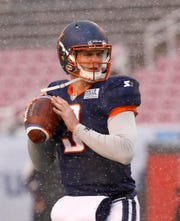 Orlando Apollos quarterback Garrett Gilbert (3) during pregame warmups at an AAF football game against the Salt Lake Stallions, Saturday, March 2, 2019, at Rice-Eccles Stadium in Salt Lake City. (AP Photo/Kim Raff)
